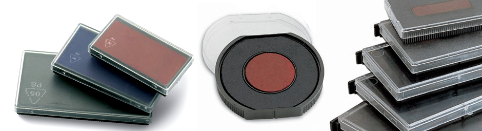 Ink pads in a variety of sizes for self inking and traditional rubber stamps